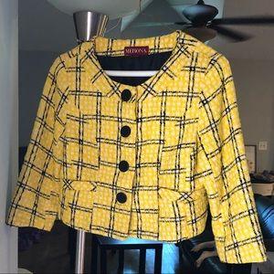 Yellow and black plaid small Merona crop jacket